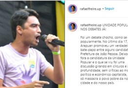 """Rafael Freire diz que o primeiro debate com os candidatos à PMJP foi """"chocho"""", e pede a UP nos debates: """"discussão sem profundidade"""""""