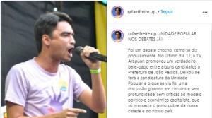 """rafael 300x167 - Rafael Freire diz que o primeiro debate com os candidatos à PMJP foi """"chocho"""", e pede a UP nos debates: """"discussão sem profundidade"""""""