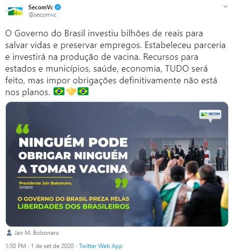 screenshot 4 - Ninguém pode obrigar ninguém a tomar vacina, diz Bolsonaro; VEJA VÍDEO