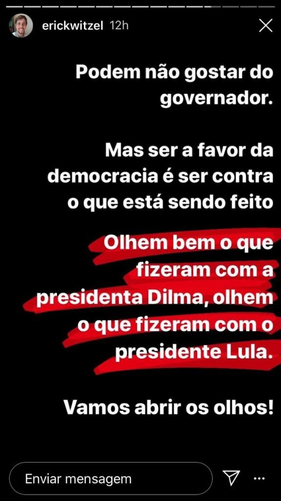 whatsapp image 2020 09 03 at 00.49.52 - Filho de Witzel usa Lula e Dilma como exemplos ao defender o pai no Instagram