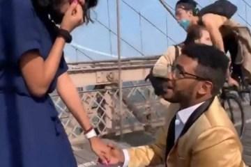 Pedido de casamento em ponte famosa acaba com acidente após ciclista atropelar fotógrafo – VEJA VÍDEO