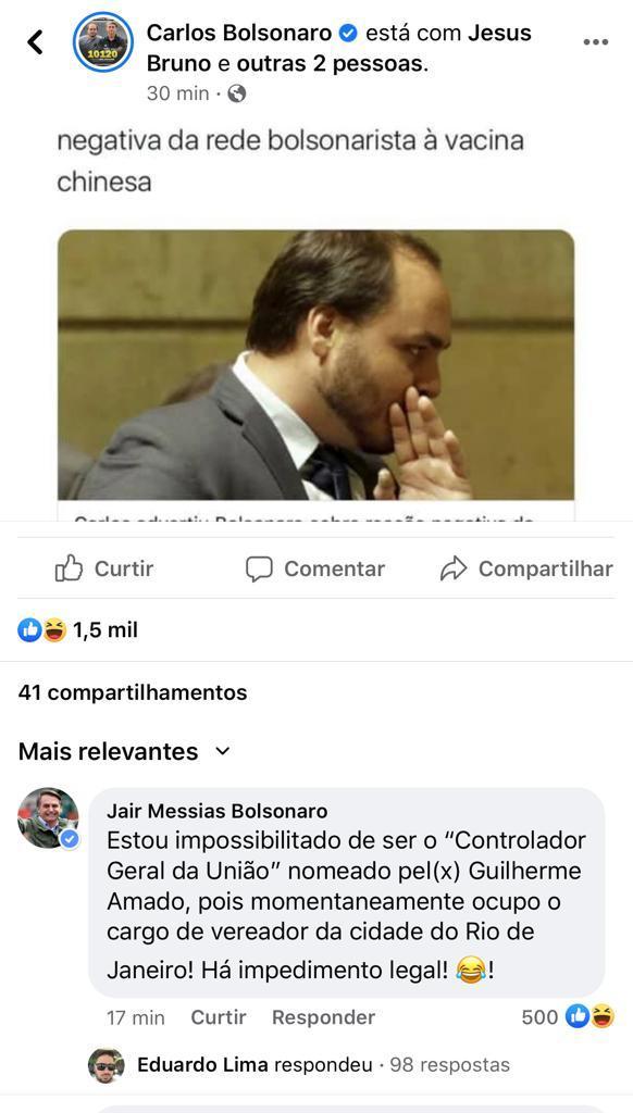 carlos bolsonaro - Carlos Bolsonaro usa perfil do pai para dizer que está focado em ser vereador