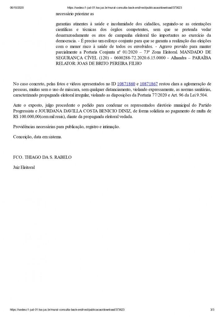 conceicao page 0003 - AGLOMERAÇÃO: Jourdana Diniz, candidata à prefeita de Conceição é condenada pela Justiça Eleitoral a pagar R$ 100 mil
