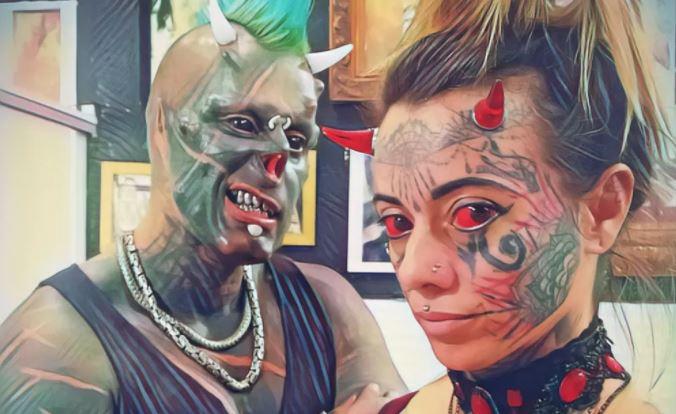 """diab - """"Somos felizes"""", diz Diabão ao defender 'mulher demônia' de críticas sobre aparência"""