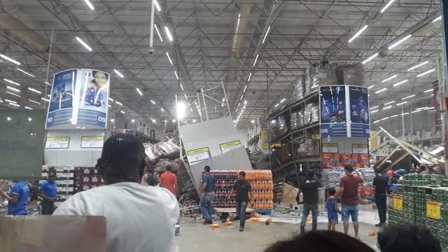 dp - MOMENTOS DE TERROR: Prateleiras de supermercado desabam sobre clientes no Maranhão; uma pessoa morreu - VEJA VÍDEO