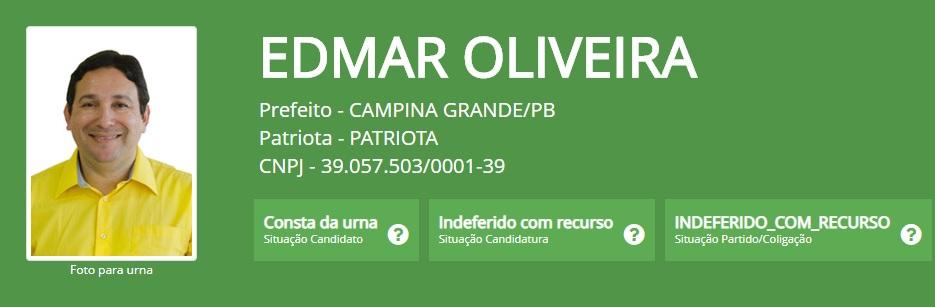 edmar oliveira - Candidato a prefeito de Campina Grande tem registro de candidatura indeferido pelo TRE-PB