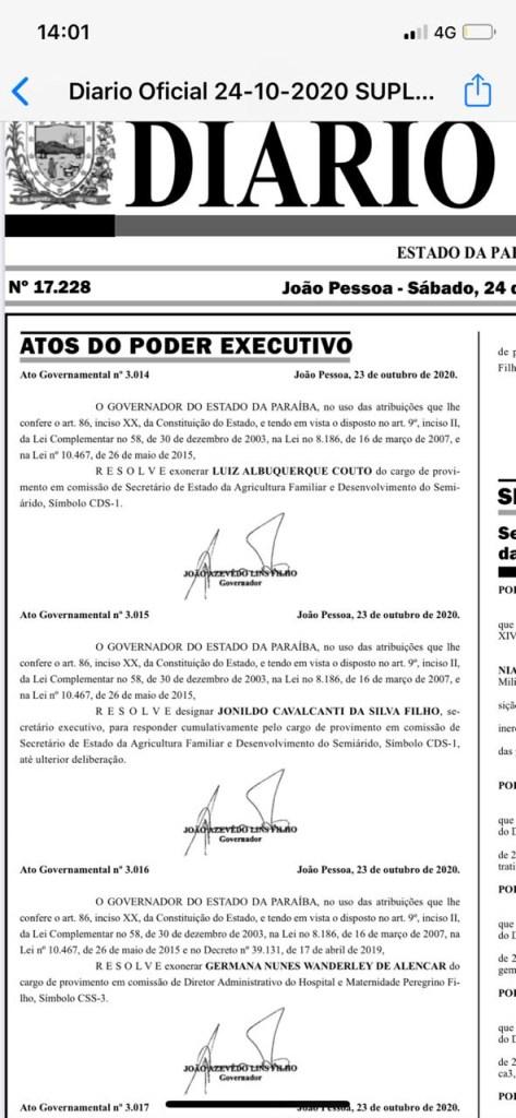 """fc26606a d78f 4320 896b 55901c5341b8 473x1024 - EXCLUSIVO - João Azevedo demite o secretário de Agricultura: """"Couto foi desrespeitoso e debochado com o governador"""" - VEJA DOCUMENTO"""