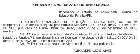 portaria calamidade  - Governo Federal reconhece estado de calamidade pública na Paraíba