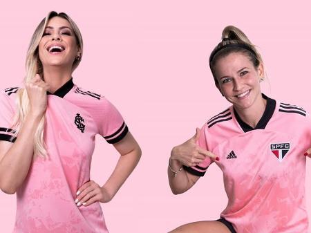 renata fan veste a camisa do internacional e ale xavier a do sao paulo em campanha da adidas 1602608302911 v2 450x337 - Outubro Rosa inspira camisas de Flamengo, Inter e São Paulo