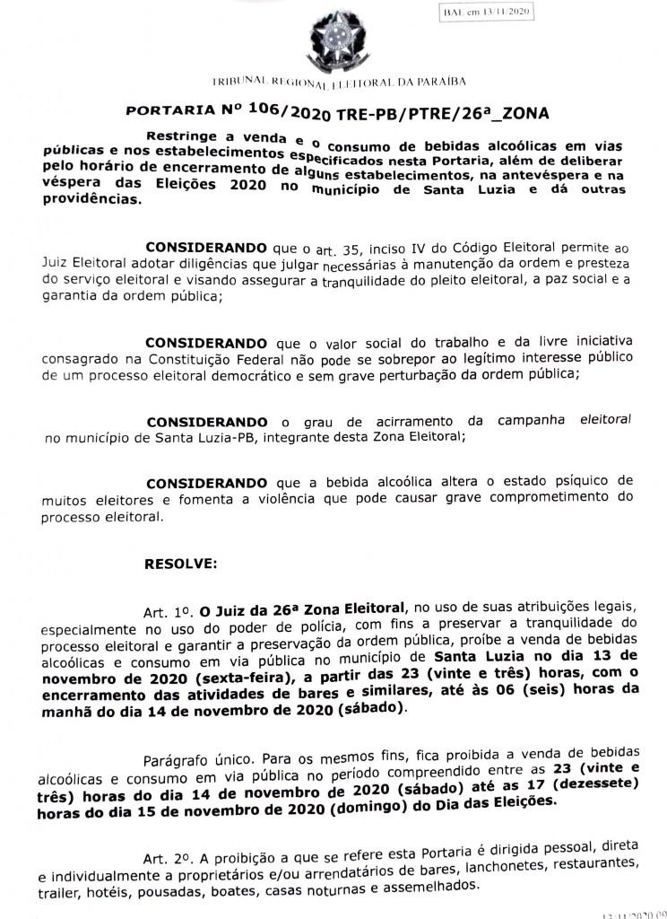 0001 1 - Juiz proíbe venda e consumo de bebidas alcoólicas no dia da eleição em Santa Luzia
