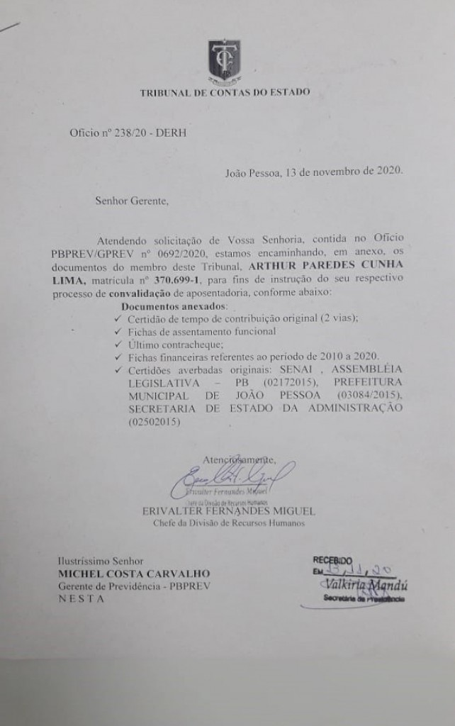 00011 - Arthur Cunha Lima pede aposentadoria no TCE-PB, Assembleia deve escolher novo conselheiro; confira o documento