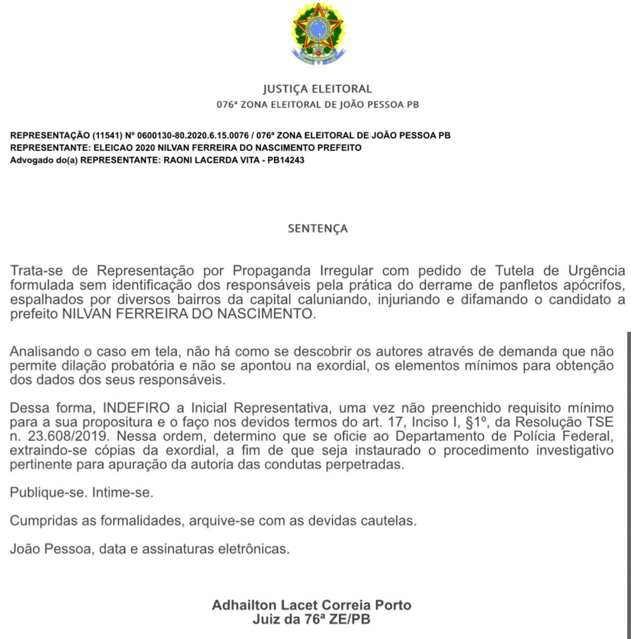 0d877bb5 c556 42bf ad48 19194a4d3a20 - ATAQUES AOS CANDIDATOS: juiz pede que seja instalado procedimento para investigação dos panfletos na PF