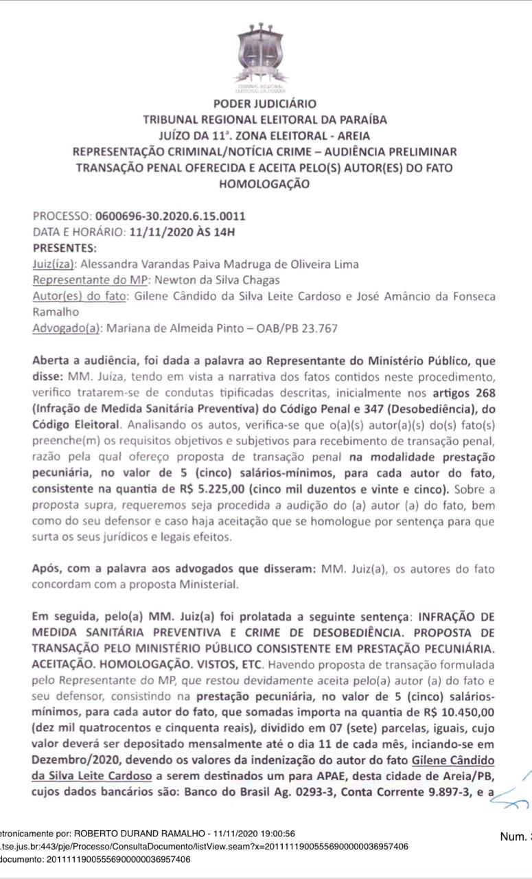 1 1 - 'Infração de medida sanitária e crime de desobediência': candidata a prefeita de Borborema e vice são condenados a pagar multa de mais de R$ 10 mil