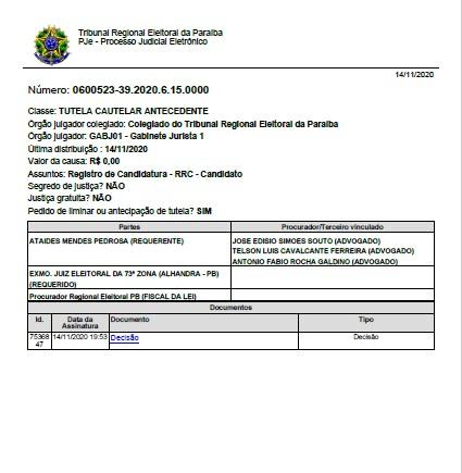 1 2 - ALHANDRA: Branco Mendes consegue liminar e tem candidatura garantida - CONFIRA DOCUMENTO
