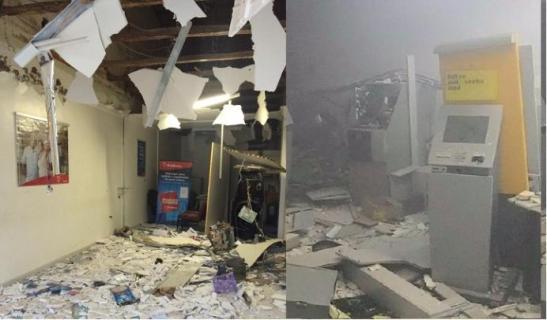 1436191652592 explosoes bradesco e bb taperoa 1 - Bandidos explodem agência bancária em Juazeirinho, na Paraíba
