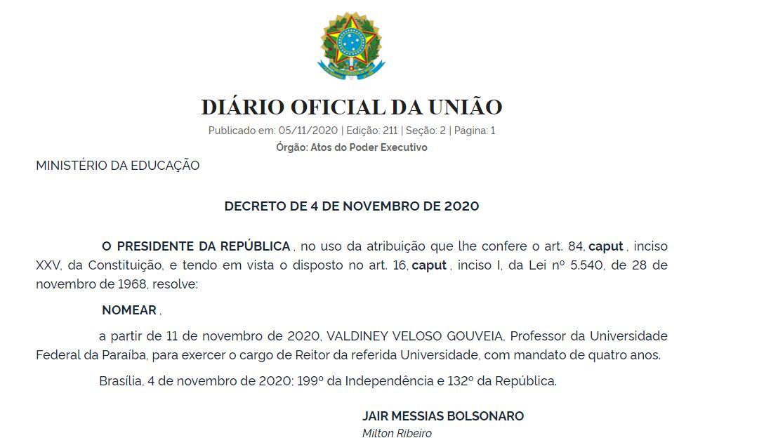 Capturar 3 - Presidente Bolsonaro nomeia candidato menos votado como novo reitor da UFPB