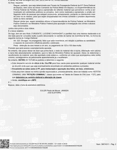 DECISÃO 2 - 'APURAÇÃO SEVERA': Justiça Eleitoral determina que PF investigue panfletos apócrifos em Bayeux; LEIA DECISÃO