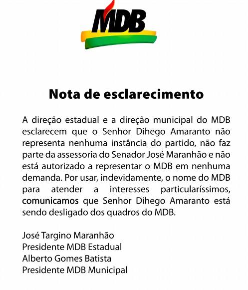 MBD - 'USO INDEVIDO DO PARTIDO': MDB 'desliga' Dihêgo Amaranto após cargo na Prefeitura de João Pessoa; LEIA NOTA