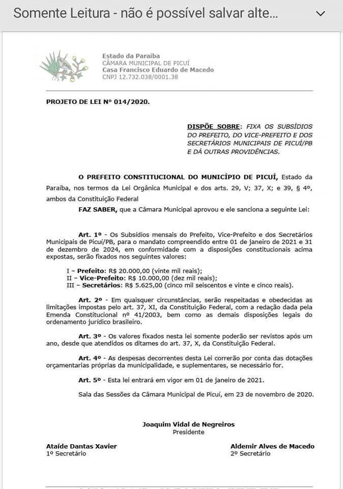 WhatsApp Image 2020 11 25 at 12.33.06 1 - Cidade de Picuí, na Paraíba, publica reajuste salarial para prefeito, vice, vereadores e secretários