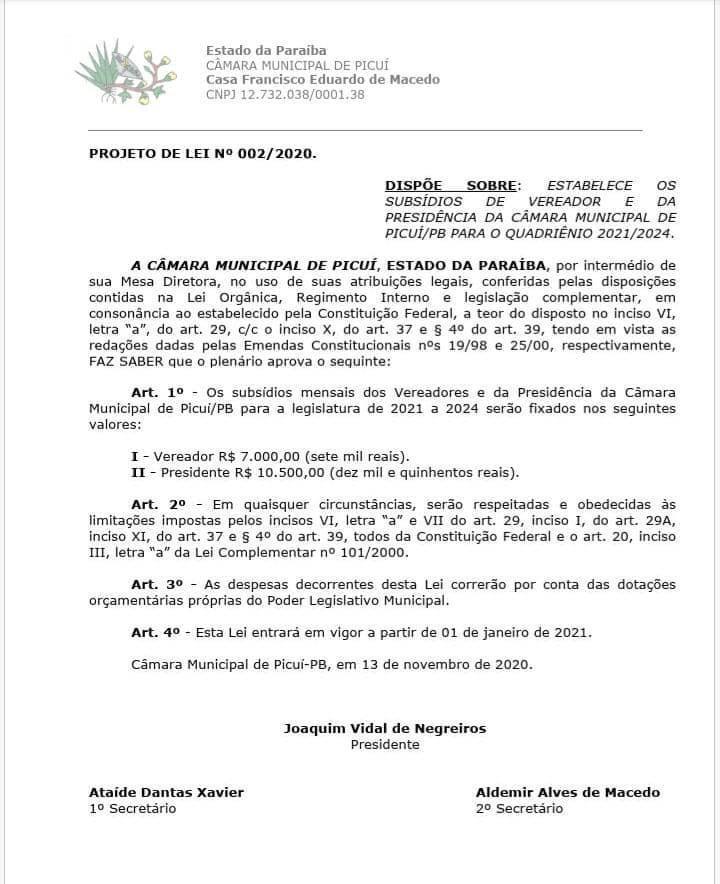 WhatsApp Image 2020 11 25 at 12.33.06 - Cidade de Picuí, na Paraíba, publica reajuste salarial para prefeito, vice, vereadores e secretários