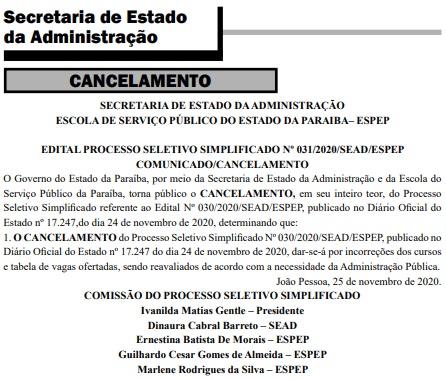 cancelamento edital vagas - Secretaria de Estado da Administração cancela processo seletivo de estágio