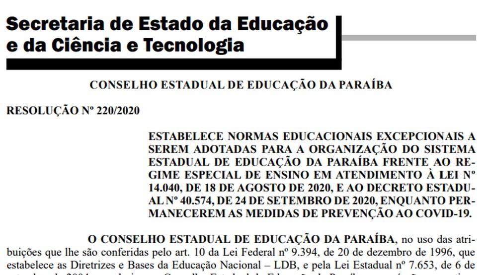 capture 20201113 114146 - Durante a pandemia, governo da PB anuncia que novas medidas serão adotadas pelas instituições de ensino