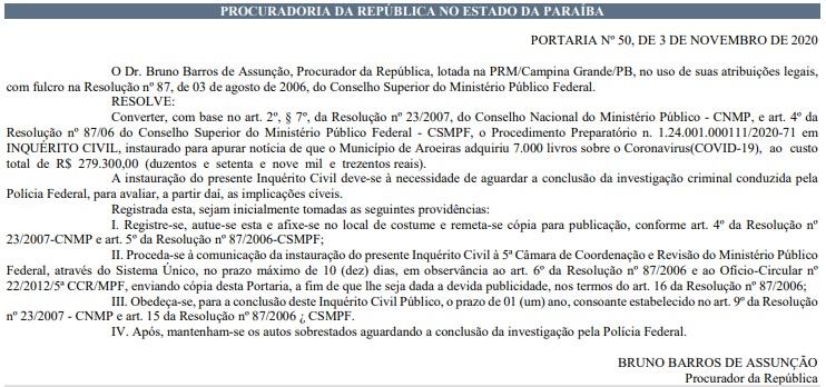 portaria mpf - MPF irá investigar compra de livros sobre covid-19 por prefeitura na Paraíba – LEIA PORTARIA