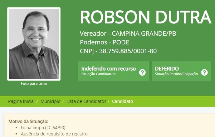 robson - TRE-PB mantém indeferimento de registro de candidatura de ex-deputado em Campina Grande