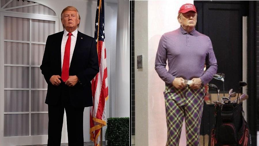 trump foi fotografado praticando o esporte no mesmo dia em que foi considerado derrotado pelas projecoes de votos 1604927613937 v2 900x506 - Após derrota nas eleições museu de cera coloca Trump vestido com roupas de golfe