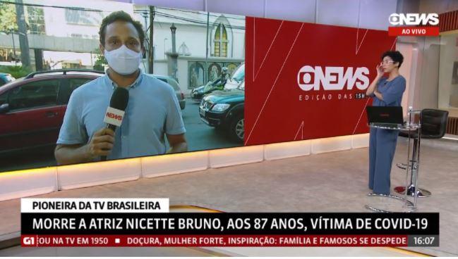 Capturar 33 - Repórter se emociona ao noticiar morte de Nicette Bruno e lembrar mãe que também morreu de Covid-19 - VEJA VÍDEO
