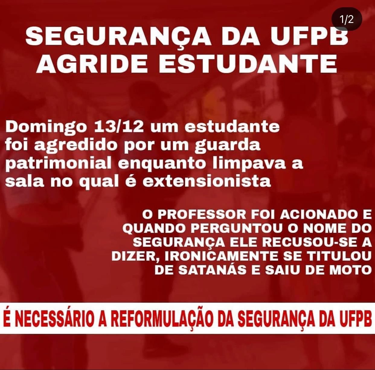 """SEGURANÇA - Estudantes são agredidos por seguranças da UFPB: """"Racismo e perseguição política"""", denuncia professor"""