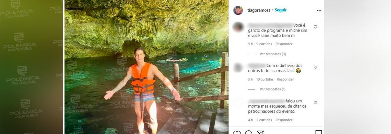"""WhatsApp Image 2020 12 02 at 15.03.29 - Paraibano Tiago Ramos rebate seguidor que o chamou de 'michê de gente rica' no Instagram: """"você precisa ser internado"""""""