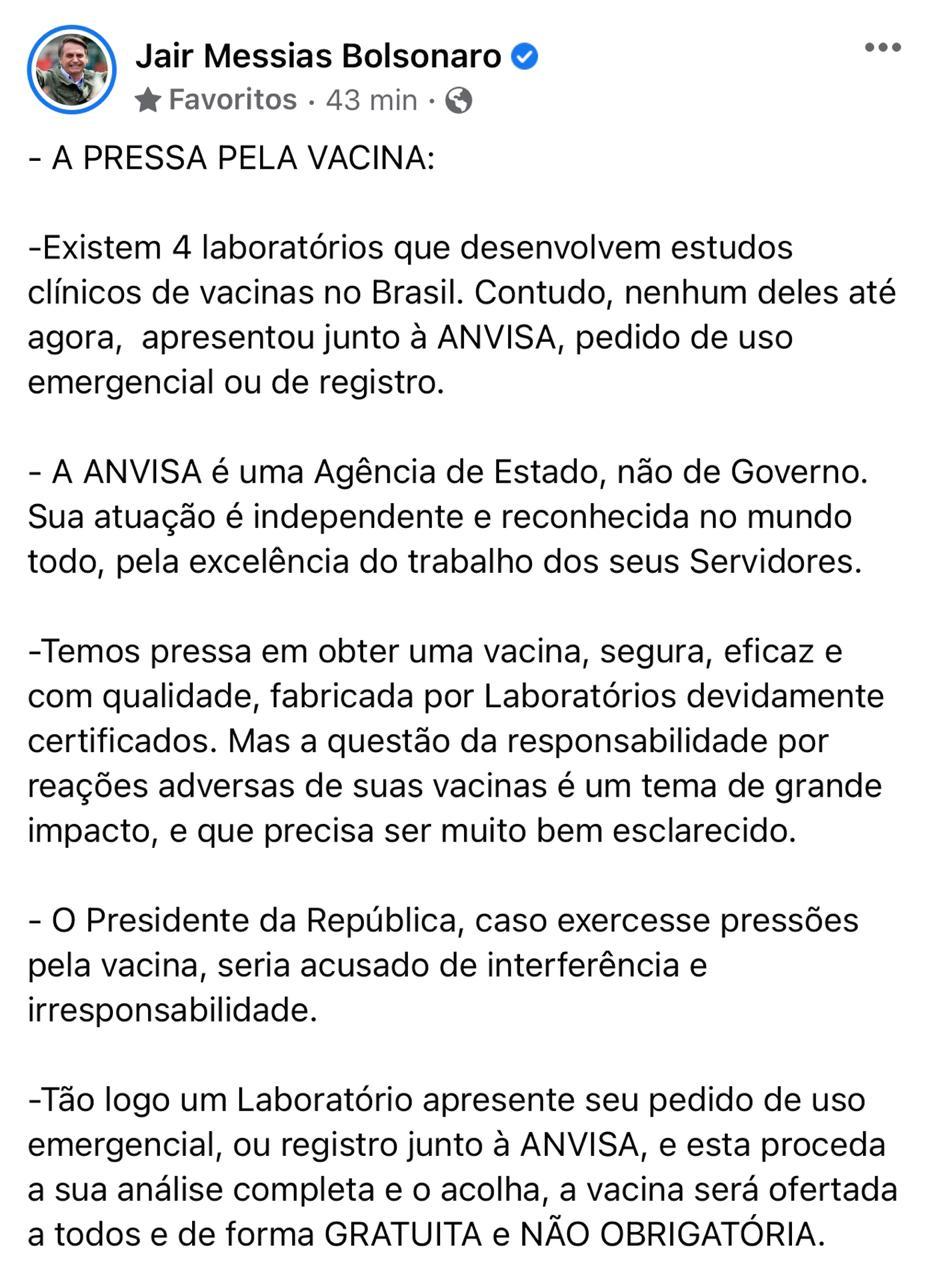 WhatsApp Image 2020 12 27 at 14.27.24 1 - Bolsonaro volta a dizer que quer 'vacina segura' e que aplicação não será obrigatória