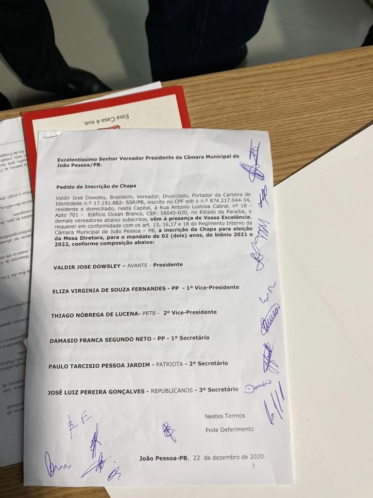 doc - Vereador Dinho registra chapa com 16 assinaturas para disputar presidência da CMJP - VEJA DOCUMENTO