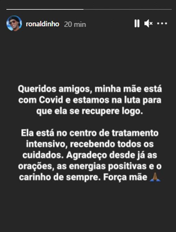 image CibrgSF - Ronaldinho Gaúcho pede orações para a mãe que está internada com Covid-19
