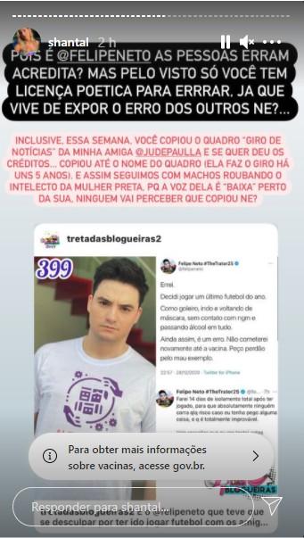 shantal - Defensor do isolamento social, Felipe Neto é flagrado em partida de futebol e se retrata após repercussão negativa - VEJA VÍDEO