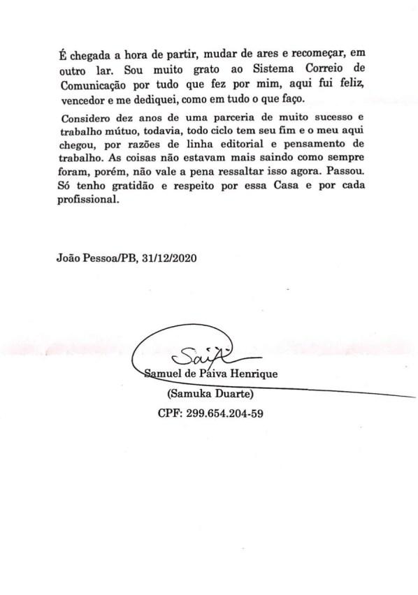 """WhatsApp Image 2021 01 04 at 08.48.39 - """"As coisas não estavam saindo como sempre foram"""": diz carta de demissão de Samuka Duarte; confira"""