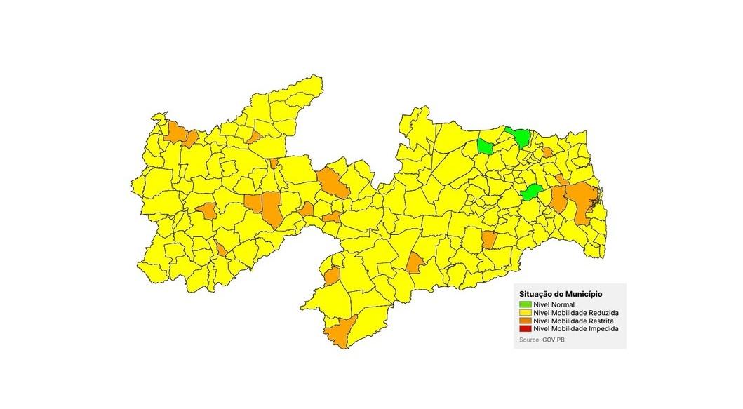 bandeiras pb nova - PLANO NOVO NORMAL: 200 cidades paraibanas estão classificadas como bandeira amarela - VEJA A SITUAÇÃO DE CADA UMA