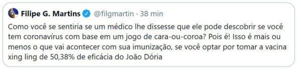 filipe 600x144 1 - Assessor de Bolsonaro chama CoronaVac de vacina 'xing ling'