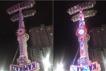 kamikaze - Brinquedo trava no ar e deixa pessoas de cabeça pra baixo a 18 metros de altura