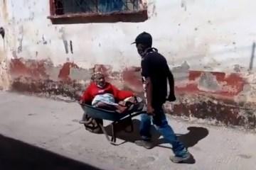 Aos 70, filho carrega mãe de quase 100 anos em carro de mão para ela ser vacinada – VEJA VÍDEO