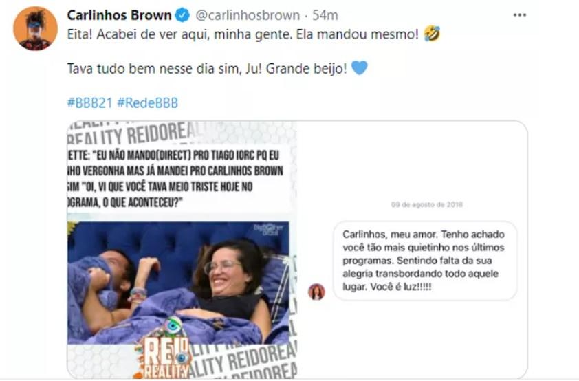 """Capturar 44 - Carlinhos Brown mostra mensagem enviada por Juliette: """"Mandou mesmo"""""""