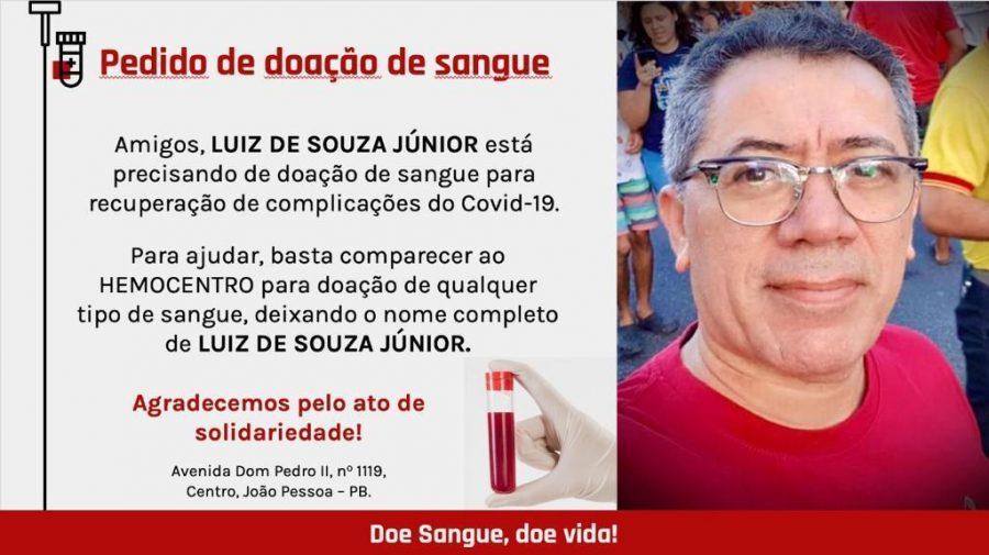 Luiz Junior doacao de sangue 900x505 1 - COVID-19: Ex-secretário de João Pessoa apresenta melhoras mas continua internado na UTI