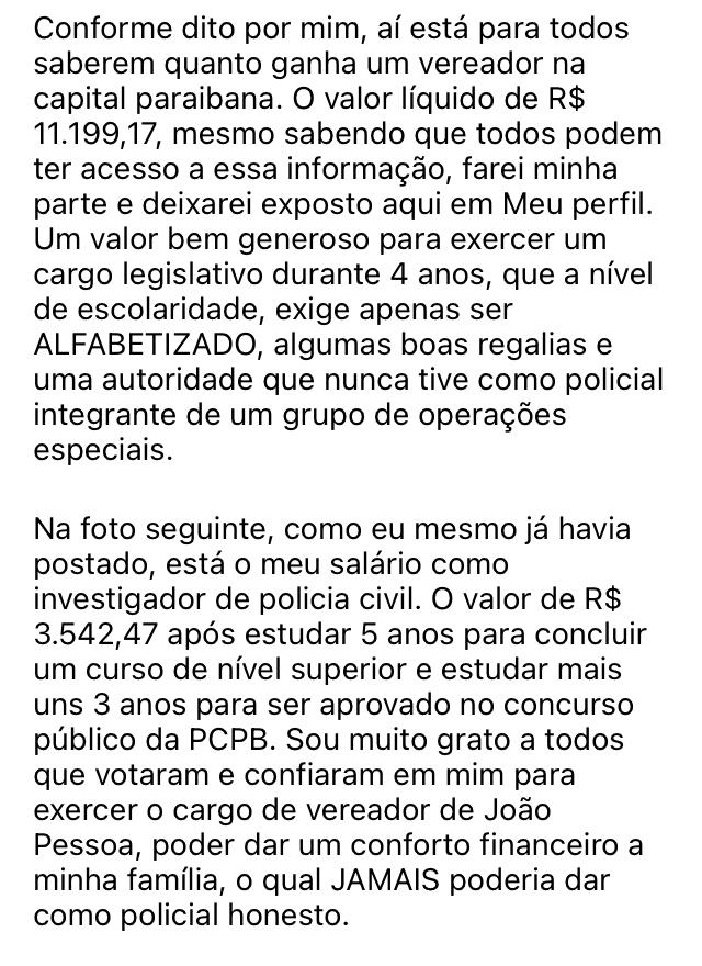 WhatsApp Image 2021 02 02 at 19.12.01 1 - Vereador de João Pessoa divulga valor do próprio salário nas redes sociais: 'para todos saberem quanto ganha um parlamentar'