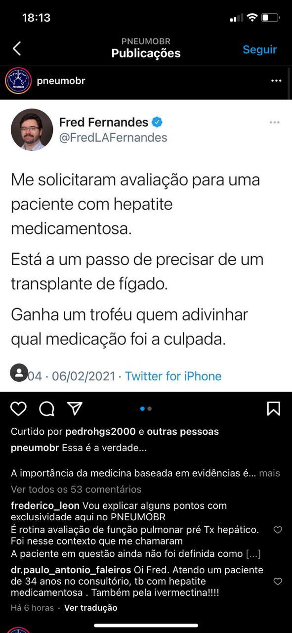 WhatsApp Image 2021 02 07 at 18.14.08 - RISCO À SAÚDE: Médico denuncia caso de hepatite medicamentosa causada pelo uso de ivermectina contra a covid-19
