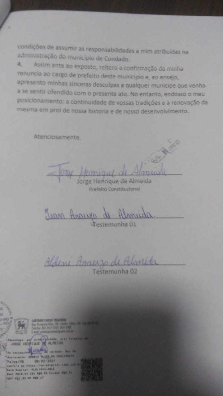 """WhatsApp Image 2021 02 08 at 20.08.03 - Depressão pós Covid-19 levou Jorge Henrique a renunciar prefeitura de Condado: """"não me encontro em condições"""" - LEIA CARTA"""