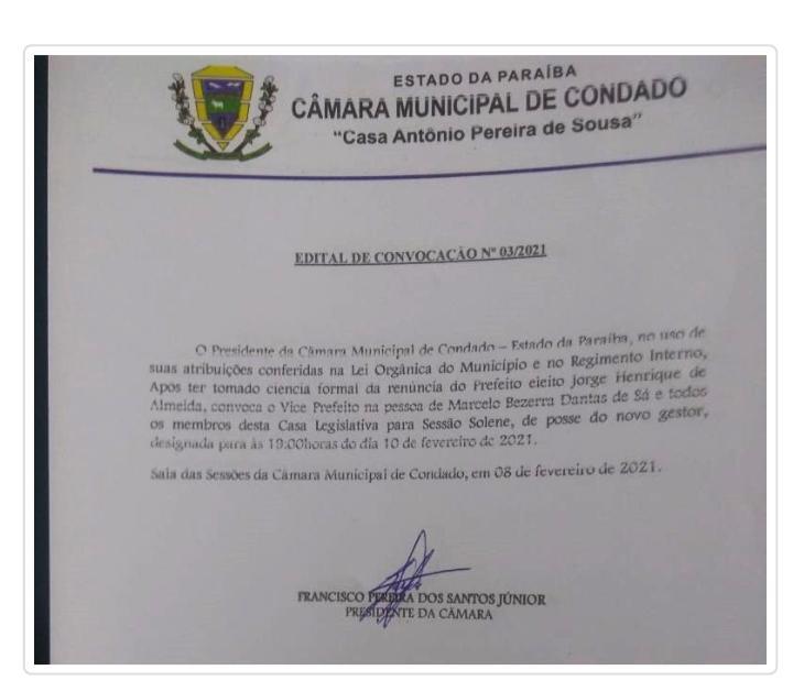 WhatsApp Image 2021 02 08 at 20.35.59 1 - MENOS DE 40 DIAS DE MANDATO: Prefeito de Condado renuncia e câmara é convocada para dar posse ao vice-prefeito - VEJA CARTA RENÚNCIA