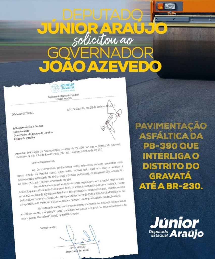 WhatsApp Image 2021 02 11 at 16.57.57 1 - Deputado Júnior Araújo solicita ao governador pavimentação do trecho que interliga distrito de São João do Rio do Peixe à BR 230: 'Garantir mobilidade'