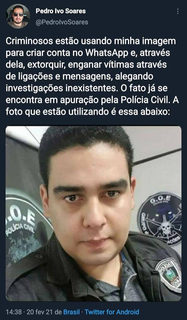 WhatsApp Image 2021 02 20 at 14.51.10 - Criminosos usam imagem do delegado Pedro Ivo para aplicar golpes através do WhatsApp