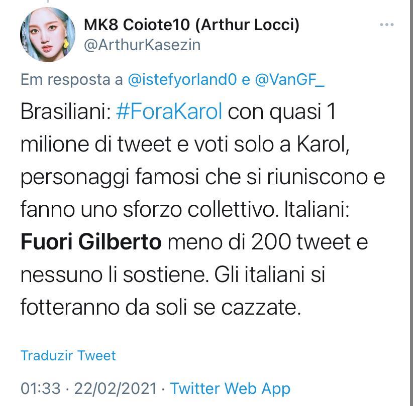 WhatsApp Image 2021 02 22 at 13.09.45 - BBB21: Italianos defendem permanência de Karol Conká no reality para irritar fãs brasileiros